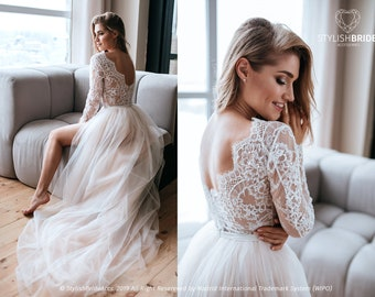 91a75ddff5 Aster Two Piece Wedding Tulle Dress