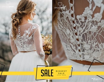 4a8e9c2c43133 Mia Glitter Wedding Top, Waves Glitter and Flower Lace Crop Top with Long  Sleeves, Engagement plus size, New 2019 Lux Boho Bridal collection