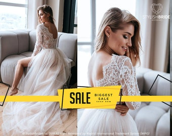 6bb6d254bda16 Aster Two Piece Wedding Tulle Dress, Bodysuit, Lace Bodysuit, New 2019  Bridal Separates by StylishBrideAccs