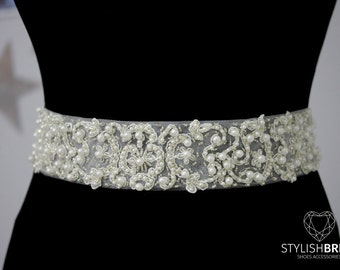 Luxury 5cm/2 in Pearl Crystal Lace Bridal Belt, Lace Wedding Belt, Bridal Sash, Bridal Accessories, Lace Bridal Belt, Lace Wedding Belt F103