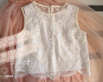 Freesia Lace Crop Top White Lace Crop top Wedding Crop Top Silk Lace Top Tops Sleeveless Tank Camisole Wedding Silk Bridesmaids White Cami