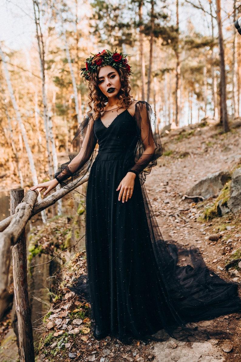 NEW Black pearled bridal dress 2 pieces dress pearl bridal image 1