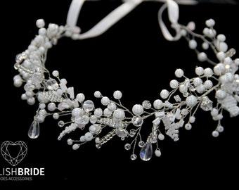 Wedding Lush Pearl Hair Vine, Wedding Pearl Crystal Hair Wreath
