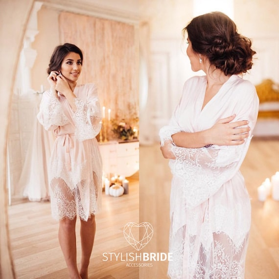 Bisquit Blush Pink Tone Bridal Silk Robe with Lace Gorgeous  0fc6e3bac