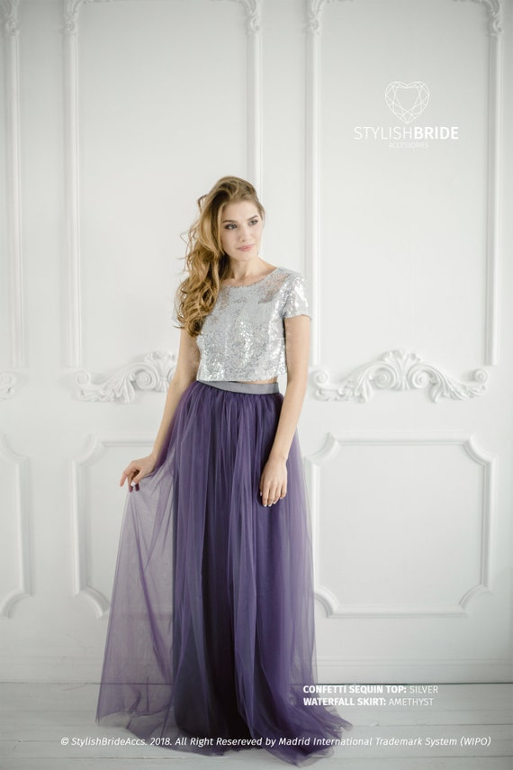 Silver Sequin Tulle Bridesmaid Dress with Amethyst Tulle Skirt , Silver  Sequin Top, Prom Sequin Dress Plus Size