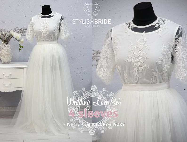 a95cf868ff Mary Wedding Dress Tulle Set Lace 005 Crop Top with Sleeves   Etsy