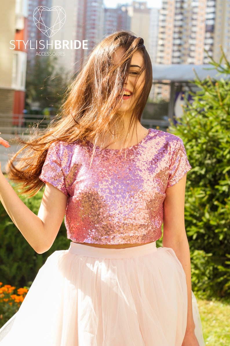 f928269bfd 10 colors Gold Silver Pink Blush Rose Gold Sequin top Prom