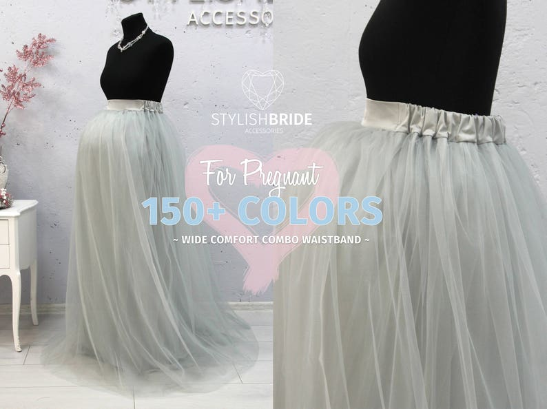 fef3dbf1472 Maternity Long Tulle Skirt Floor length skirts for pregnant