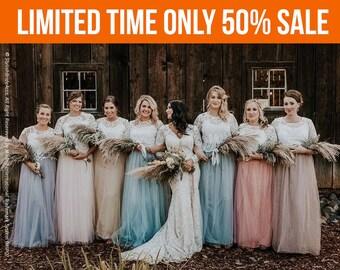 Boho Bridesmaids separates, Rustic bridesmaids dresses, Belle Lace Bridesmaid Separates, Bridesmaid Lace Tops, Bridesmaid Long Tulle Skirts
