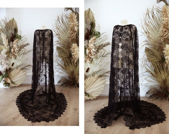 Black lace bridal cape from Chantilly lace | Stephanie custom lace coverup