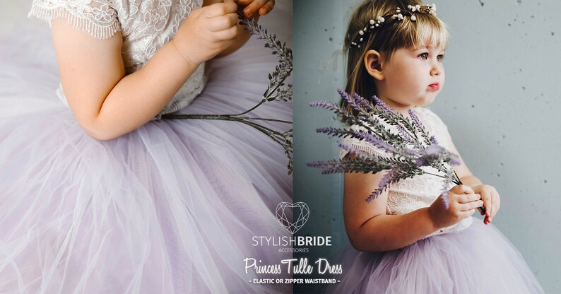 40a56d63da Lavender Flower Girl Dress Ombre Tulle Lace Dress from Mary