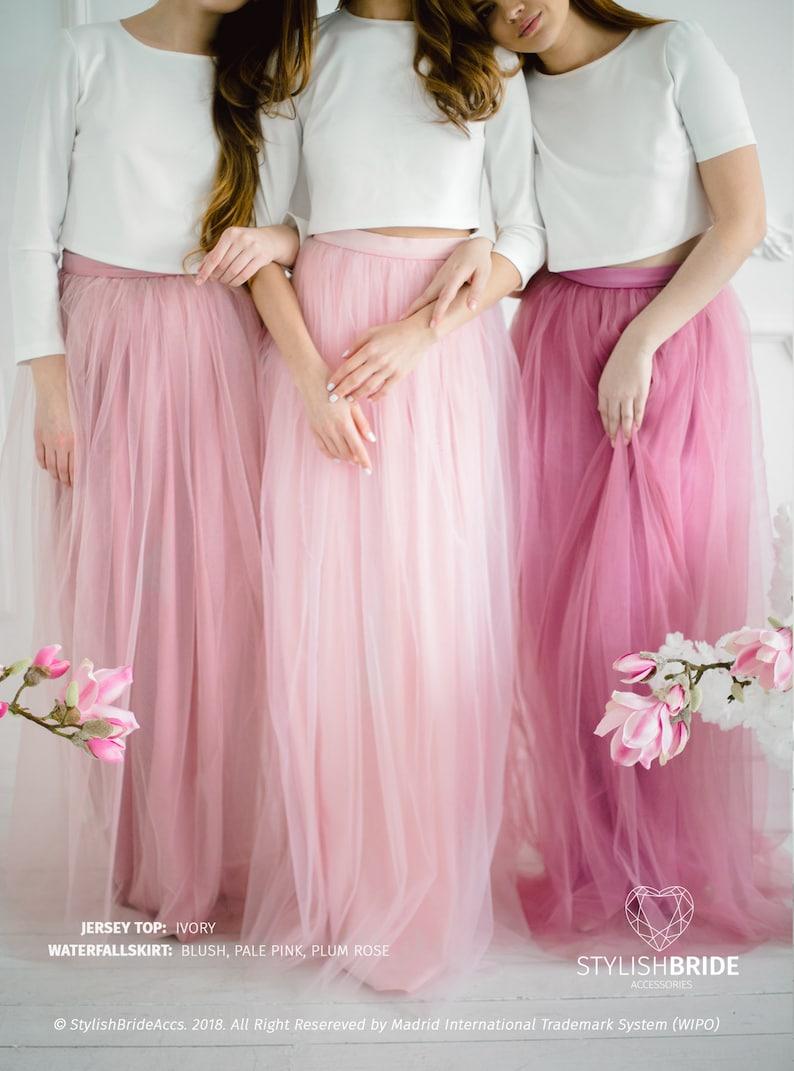 331d692fc62fda Jersey Crop Top Dress Pink Blush Plum Rose Waterfall Tulle