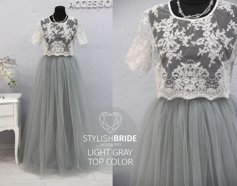 63f96d9a0b354 Belle Light Gray Dress Tulle Set Lace 002 Crop Top with