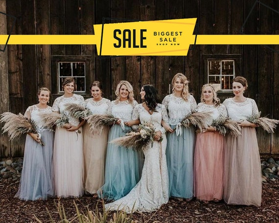 hot-selling real clear-cut texture extremely unique Boho Bridesmaids separates, Rustic bridesmaids dresses, Belle Lace  Separates, Wedding Dress Set: Stylishbrideaccs Lace Crop Top Tulle Skirt