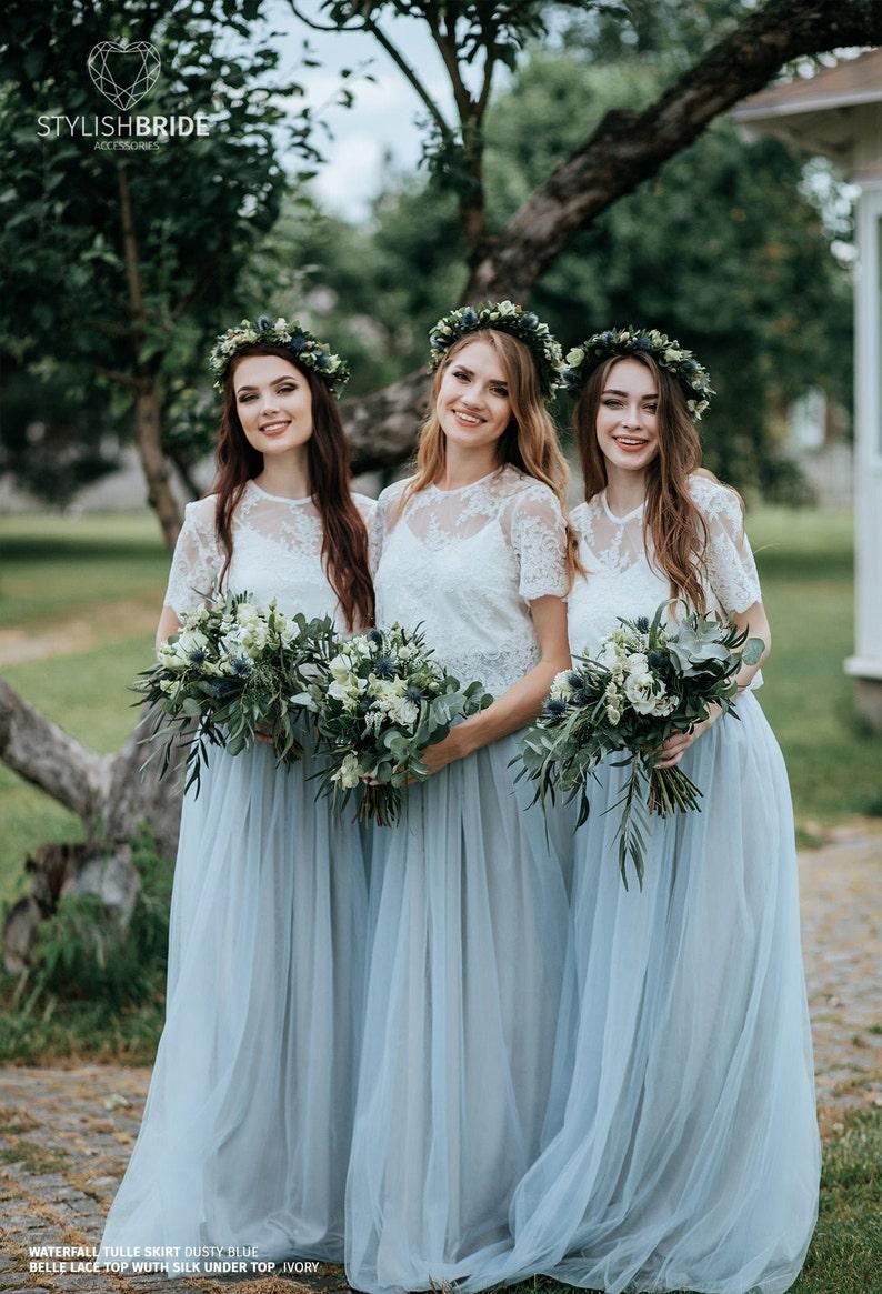 Boho Chic Bridesmaids Dresses Dusty Blue