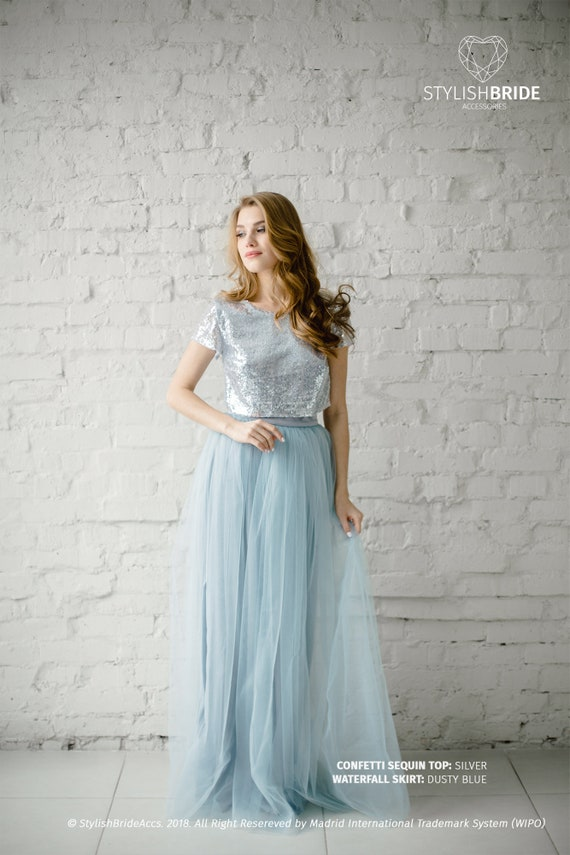 Silver Sequin Tulle Bridesmaid Dress with Dusty Blue 136 | Etsy