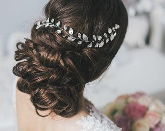 Wedding hair vine with silver leaves Wedding crystal hair vine Silver hair accessories Silver crystal vine Bridal crystal hair piece