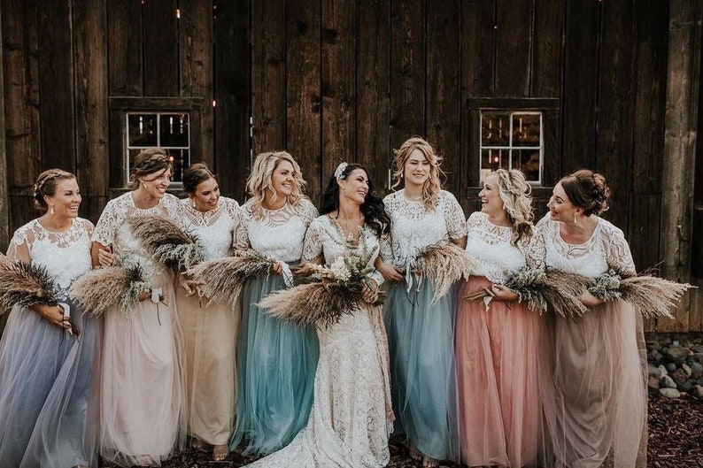 Boho-Rustic Bridesmaid Lace Tops With Long Tulle Skirts Boho Chic Bridesmaids Dresses