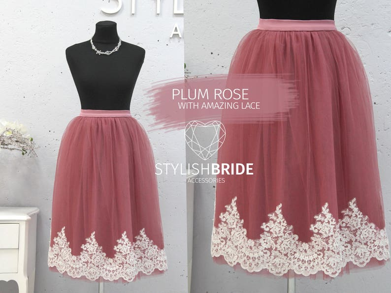 951fa485da3 Plum Rose Tulle Skirt Lace Trim Crop Top and Tulle skirt long
