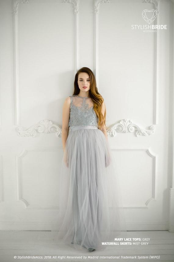 Mary Grey Lace Dress Long Must Grey Waterfall Bridesmaids Etsy