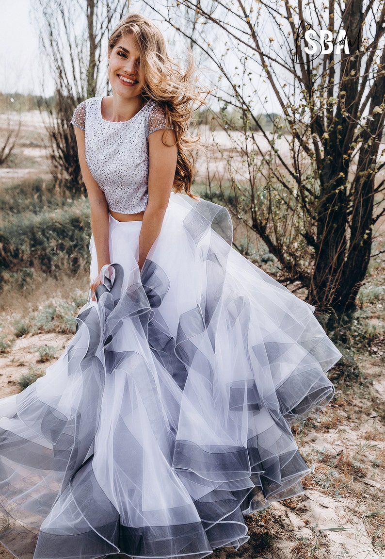 Swan Horsehair Tulle Ombre Bridal Dress Ivory Black Grey image 2