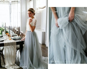Boho tulle wedding separates, Bridesmaid dresses, Bridal two pieces dress, bridesmaid skirt with top, Plus size dusty blue tulle skirt