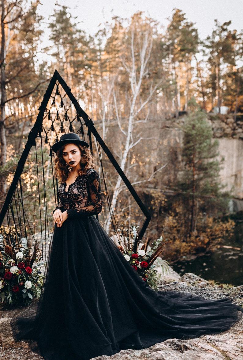 NEW Aster black boho wedding dress black separates two image 3