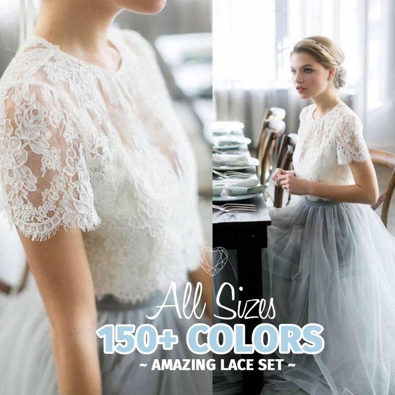 0e20fa8724f3c Belle Dress Tulle Set Lace Crop Top with Sleeves and Tulle