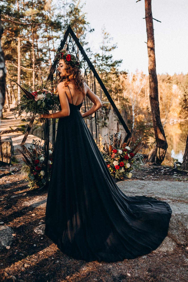 NEW Black slip dress with huge train bridal black silk satin image 1