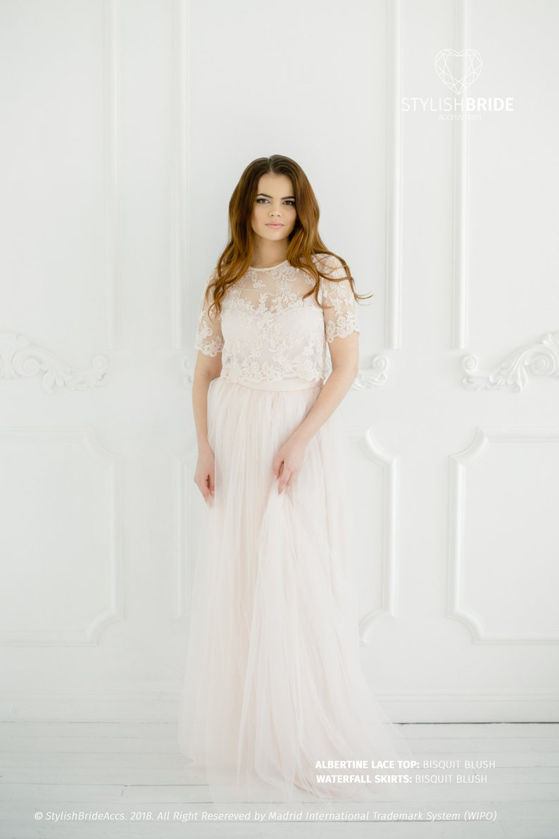 Lace Tulle Dress Wedding Lace Dress Biscuit Blush Albertine Dress Blush Prom Dresses Plus Size Long Blush Engagement Waterfall Skirts
