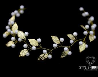 Wedding Hair Vine Gold Leaves, Wedding Pearl Hair Vine, Pearl Hair Accessories, Gold Pearl Vine, Bridal Gold Pearl Hairpiece