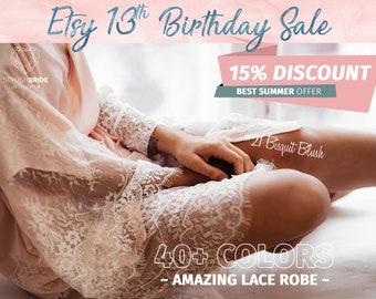 Bridal Robe Lace Silk, Gorgeous Silk and Lace Bridal Robe, Pink Silk Wedding Robe, Lace Sleeve Robe, Blush Lace Robe, Silk Robe