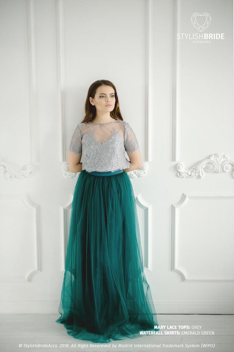 100d2f0cf81 Mary Emerald Green Pistachio Lace Dress Long Dark Green Grey