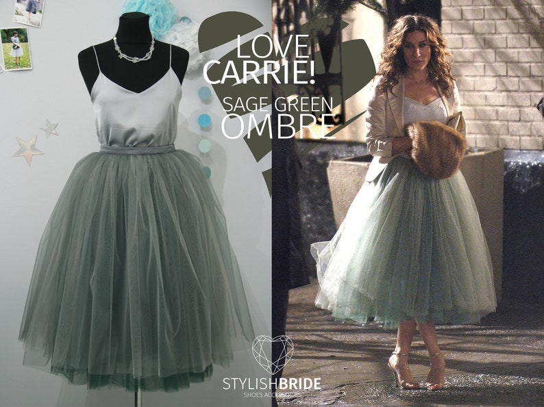 Carrie Bradshaw Storm Ombré Skirt Leaf Green 7 Layers Super image 1