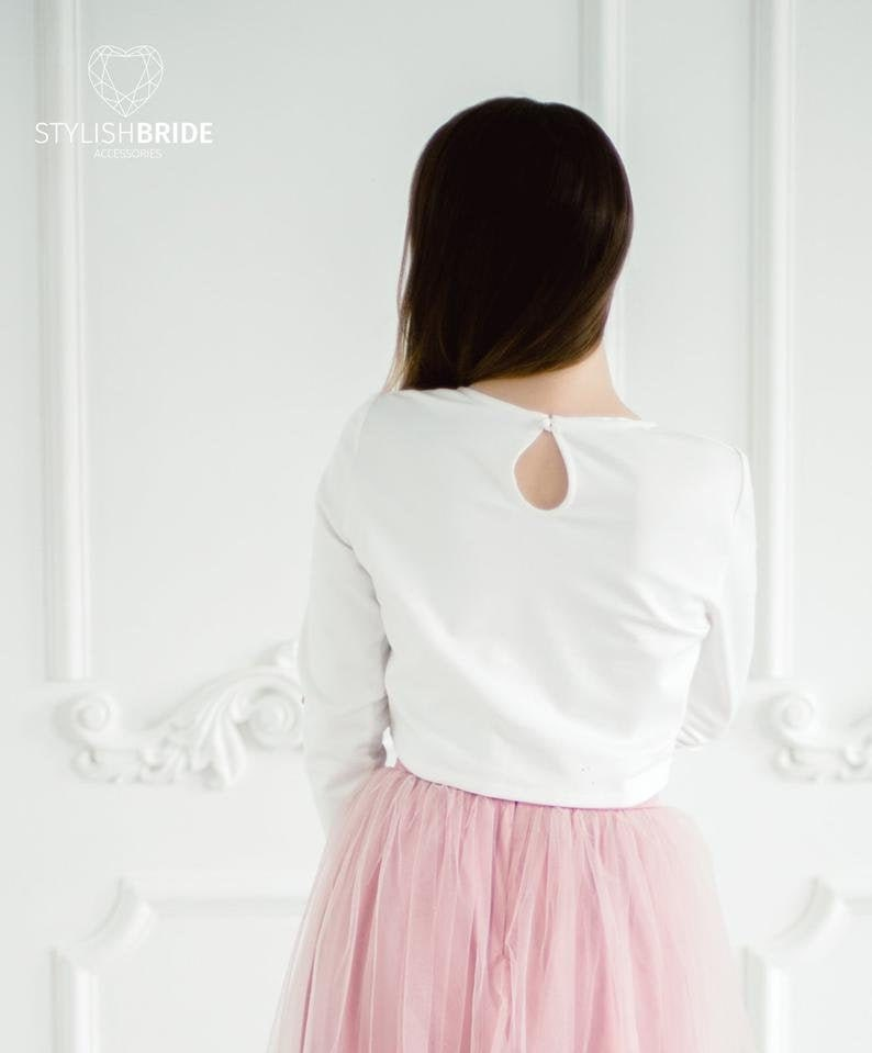 Jersey Blouse  \u2013 ready to ship #1401 bust 92 cm36 in In stock Size M Jersey Knit Crop Top : Jersey Nude Winter Simple Top