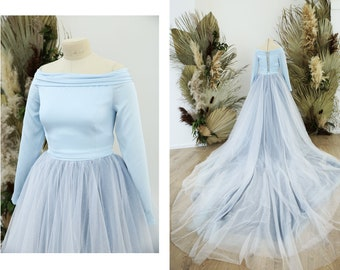 Blue ombre wedding dress with huge train and glitter tulle layer, Cinderella sparkle blue dress | Lisa custom blue dress