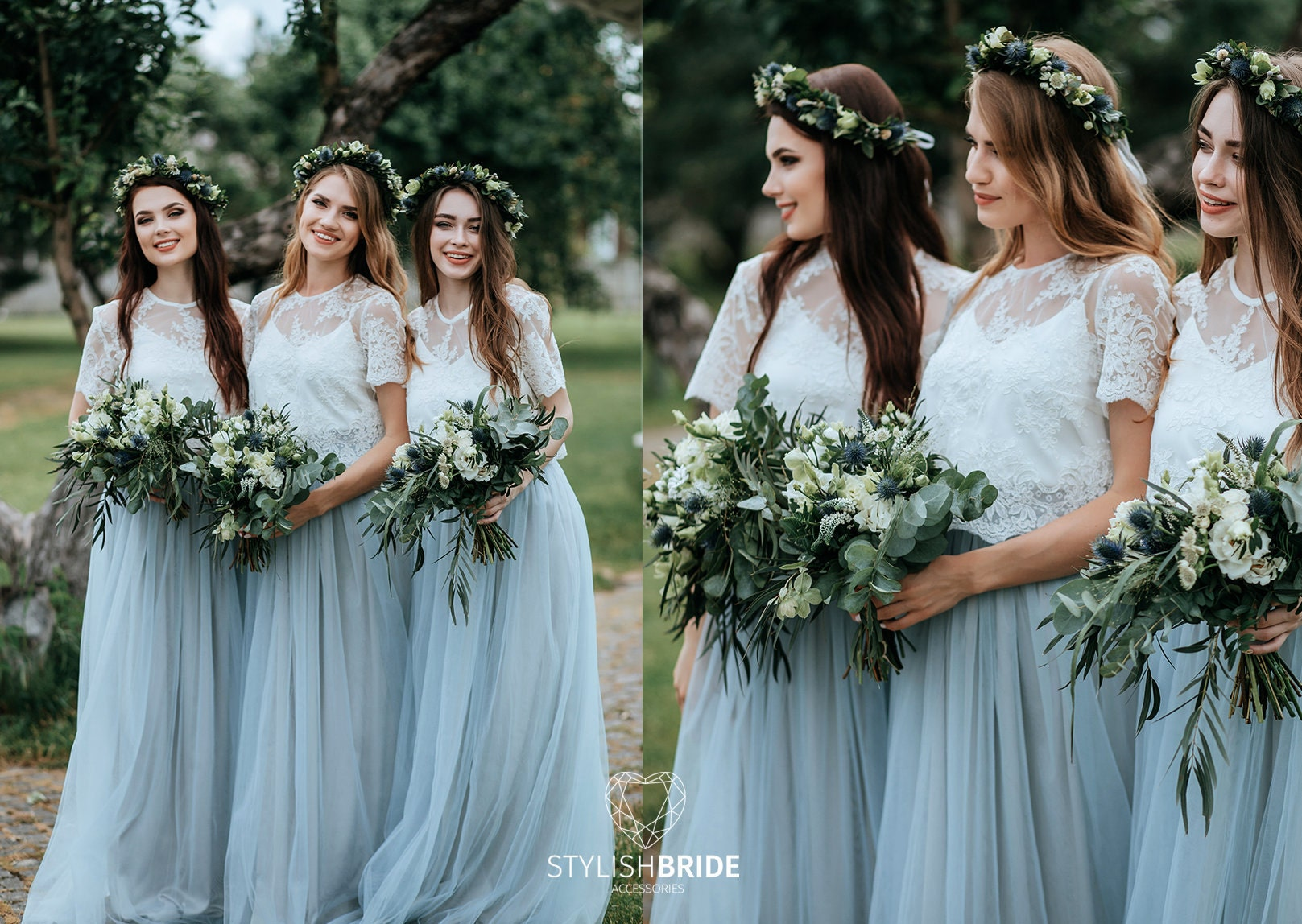 Dusty Blue Boho Bridesmaids Separates Rustic Bridesmaid Dresses, Dusty  Blue Waterfall Tulle Skirt and Belle Lace Top Available in Plus Size