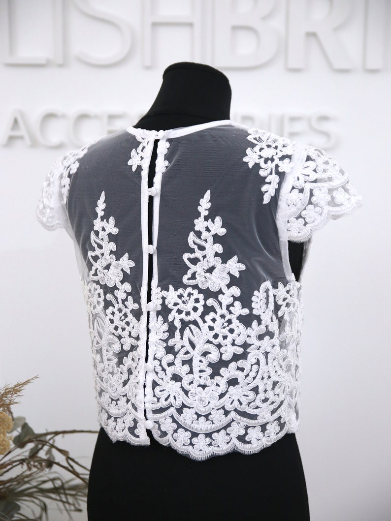 In stock Size XS all buttoned back Cap sleeves : Mary Lace Top White ready to ship #1316 bust 85 cm33.5 in