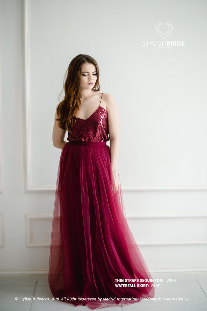 131a05cb49 Wine Sequin Tulle Dress Tulle Dress for Bridesmaids with Wine