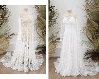 Luminous stars bridal dress with long sleeves, wedding dress with stars, starred wedding gown shining in the night | Custom glitter dress