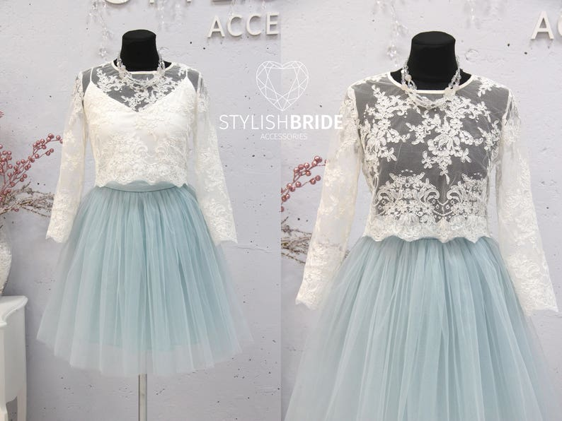 f3f733cfa1ab9 Short Dusty Blue Belle Dress Tulle Set Lace Crop Top with