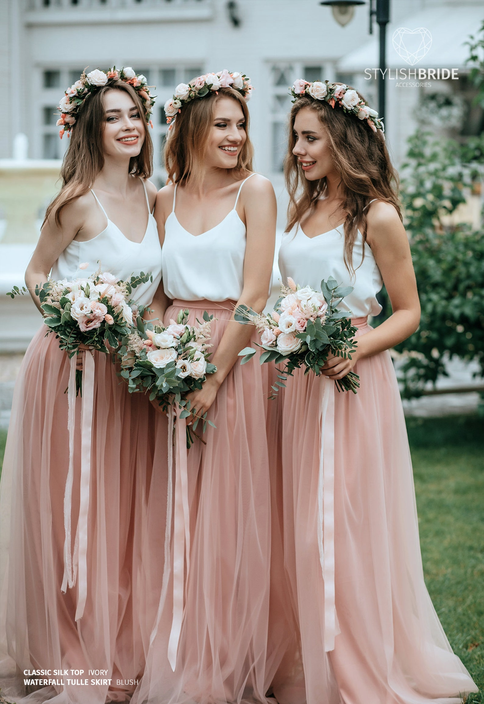 Simple Bridesmaids Silk Cami Top and Waterfall Floor Length Tulle Skirt