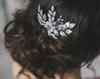 Wedding Hair Comb with metal leaves, Hair Comb, Wedding Hair Comb,  Wedding Hair Accessories