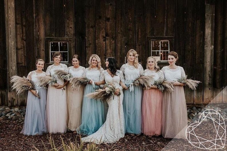 254ed7a29c2ca Bridesmaids separates Rustic bridesmaids dresses Belle Lace
