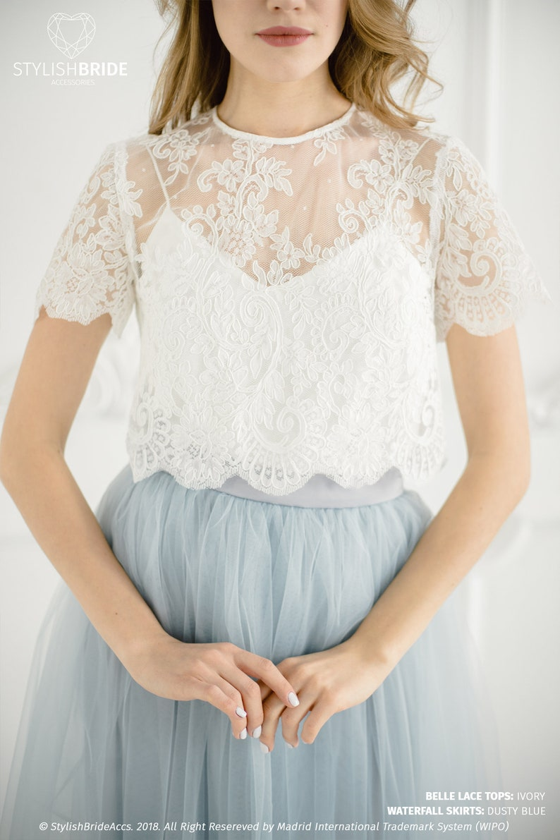 3c8dcbc35 Belle Wedding Lace Crop Top, White or Ivory Lace Crop Top Tops, Engagement  lace top plus size