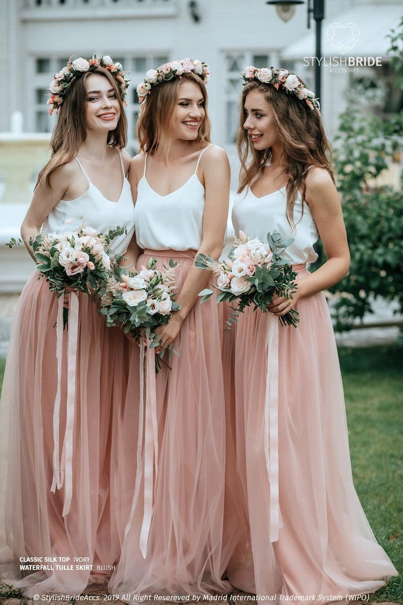 ready to ship #1348 Waist 26 inLength 45 in Blush skirt In stock floor skirt Waterfall tulle skirt