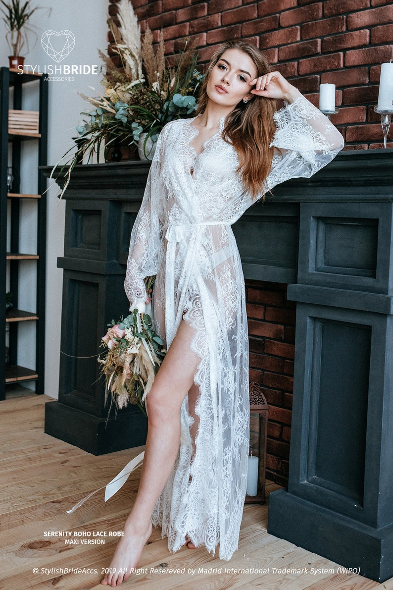Maxi luxury bridal robe Chantilly lace robe Lace floor image 0
