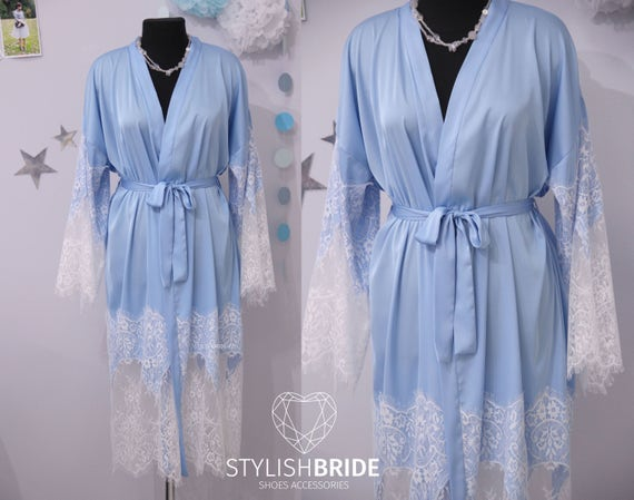 Soft Blue Bridal Silk Robe with Lace Gorgeous Silk and Lace  a97ade678