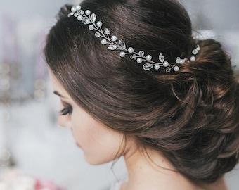 Wedding Crystal Hair Piece Wedding Hair Vine, Hair Jewelry, Prom Hair Piece with pearls