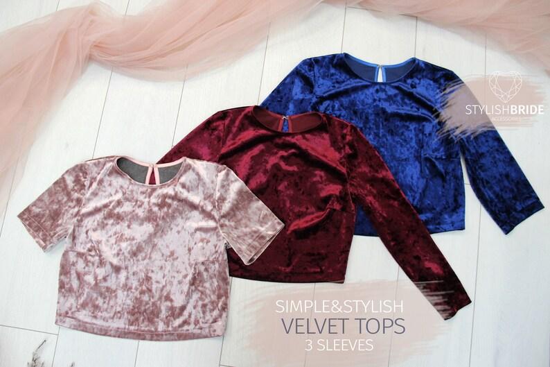 81524f5d38 Velvet Simple Tops with Long Sleeves Velvet Crop Top Wedding   Etsy